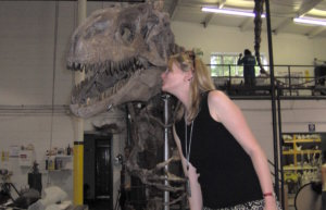 Erika with a Dinosaur