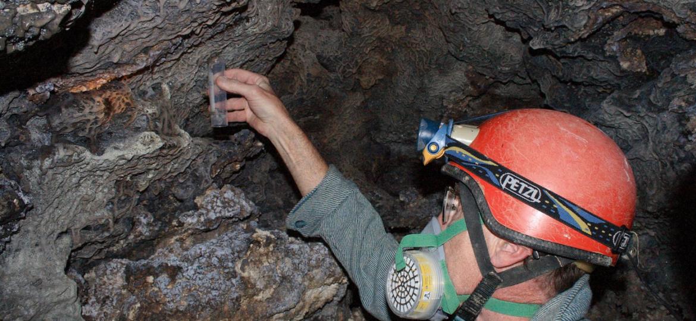 scientist in cave